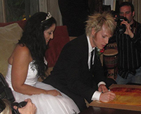 Happy Couple Signing their Ketubah