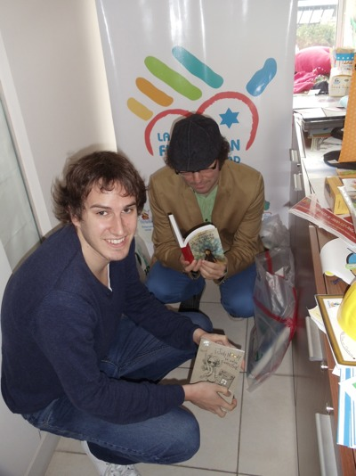 Brad and Morgan Reviewing the Books at Ieladeinu