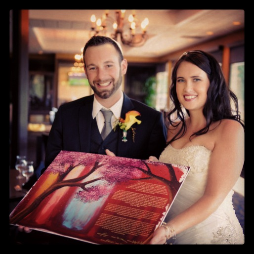 Happy Couple Received their Ketubah