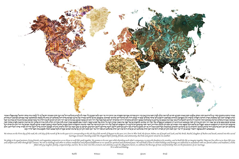 world map ketubah